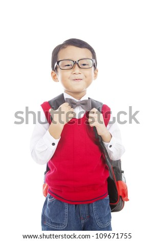 Portrait of 5 years old boy ready to school isolated on white - stock photo