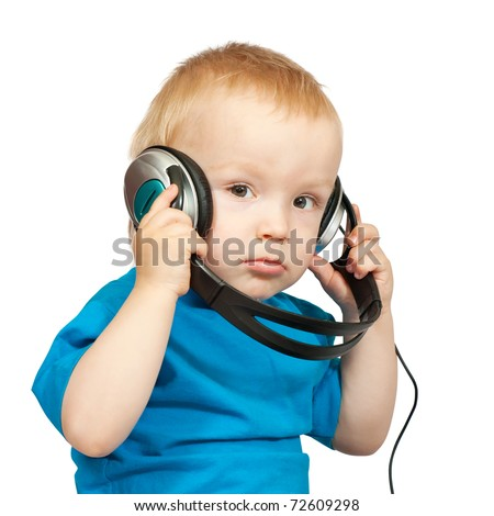 Portrait of 2 years old boy with headphones, isolated on white - stock photo