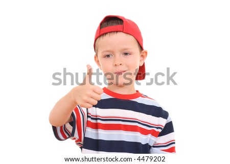 portrait of 5-6 years old boy with thumb up isolated on white - stock photo