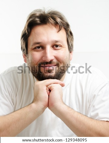 Portrait of 30 years old man with beard - stock photo