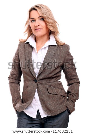 Portrait of 40 years old woman in office suit isolated on a white - stock photo