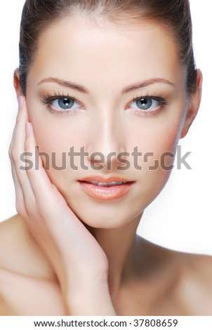 portrait of young adult sexuality girl looking at camera - stock photo