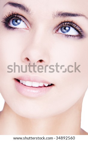 Portrait of young adult woman with health skin of face - stock photo