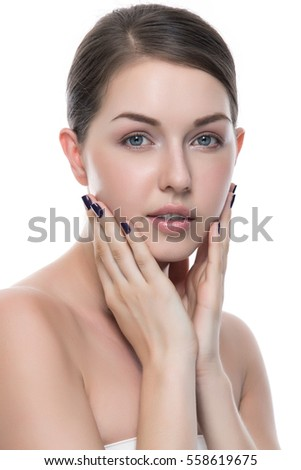 Portrait of young adult woman with health skin of face, SkinCare concept Beautiful female model on white background.