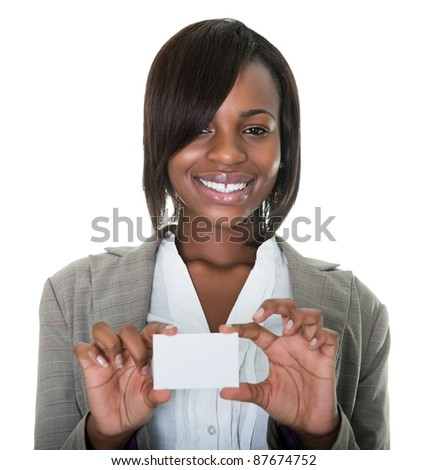 Portrait of young African American businesswoman holding blank card on white background. - stock photo