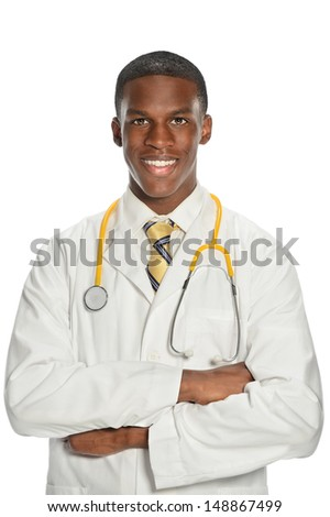 Portrait of young African American doctor smiling isolated over white background