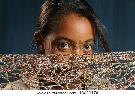 Portrait of young african american girl with beautiful eyes - stock photo