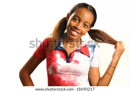 Portrait of young african american girl with happy expression - stock photo