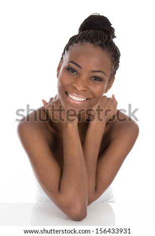 Portrait of young African American woman  - stock photo
