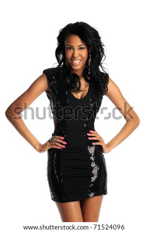Portrait of young African American woman isolated over white background - stock photo
