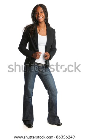 Portrait of young African American woman standing isolated over white background - stock photo