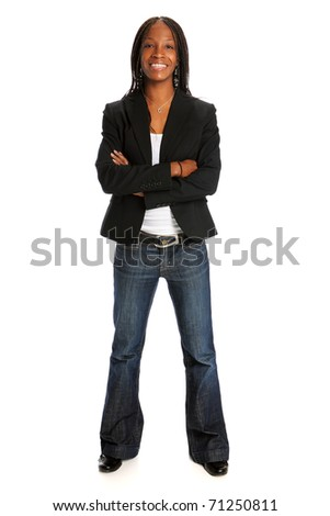 Portrait of young African American woman standing with arms crossed isolated over white background - stock photo