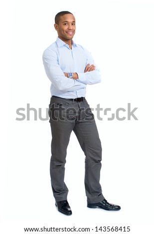 Portrait Of Young African Businessman Isolated Over White Background - stock photo