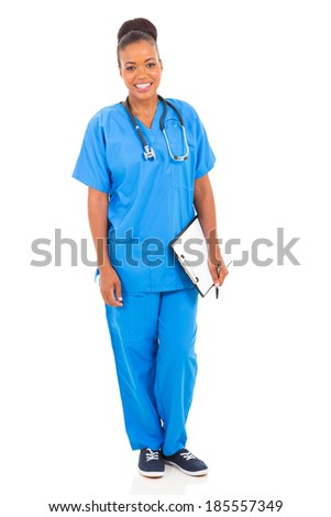 portrait of young african nurse isolated on white background - stock photo