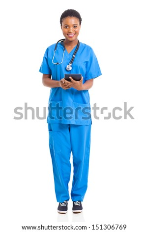 portrait of young african nurse with tablet computer isolated on white - stock photo