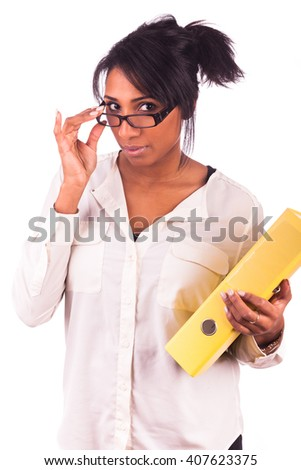Portrait Of Young African student woman - stock photo
