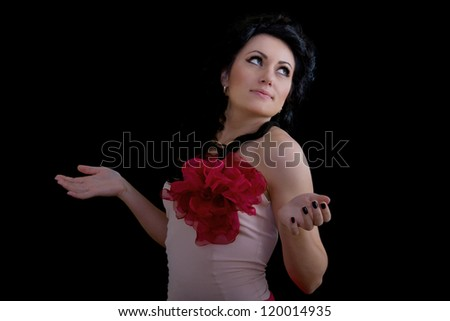 Portrait of young and beautiful confused brunette woman with hands out