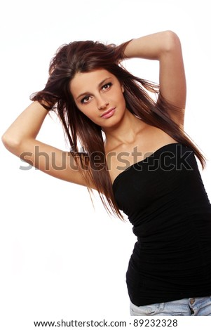 Portrait of young and beautiful girl with long hair