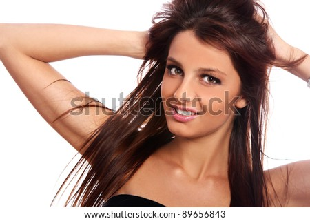 Portrait of young and beautiful girl with long hair - stock photo