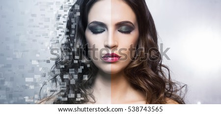 Portrait of young and beautiful woman in healthcare, plastic surgery, medicine, cosmetics, face lifting concept. Pixel mosaic background.