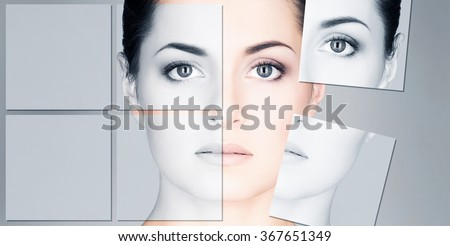 Portrait of young and healthy woman. Face lifting, plastic surgery and cosmetology puzzle. - stock photo