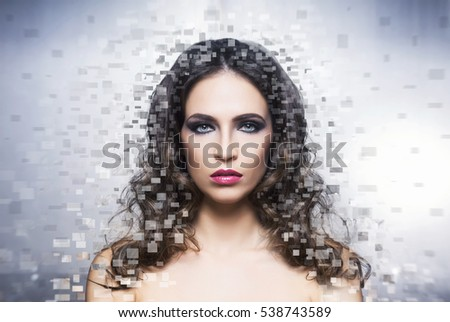 Portrait of young and healthy woman. Fresh and beautiful girl over digital background. Health care, Plastic surgery, makeup, beauty medicine, face lifting, cosmetics concept).