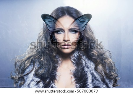Portrait of young and healthy woman with a butterfly wings on her face. Health care, Plastic surgery, makeup, beauty medicine, face lifting, cosmetics concept). Digital background.
