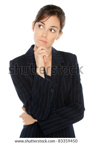 Portrait of young anxious businesswoman in suit biting her lip, looking sideways, isolated on white background - stock photo
