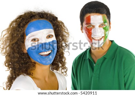 Portrait of young, Argentinian and  Italian sport's fans with painted flags on faces. Smiling and looking at camera.  Front view, white background - stock photo