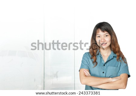 Portrait of young asia business woman has airport background .Mixed Asian / Caucasian businesswoman. - stock photo