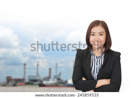 portrait of young asia businesswoman has oil industry.office.Mixed Asian / Caucasian businesswoman. Positive emotion - stock photo