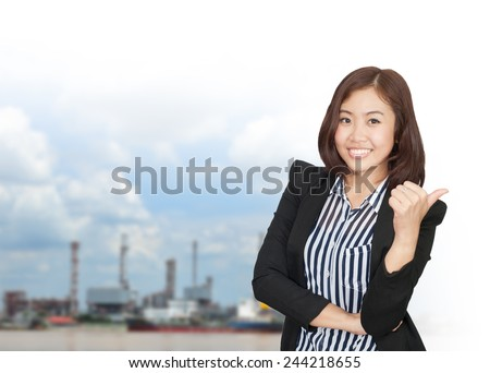 portrait of young asia businesswoman 20 - 30 year old has oil industry.Mixed Asian /  businesswoman. - stock photo