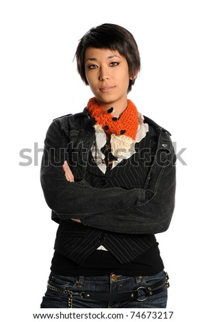 Portrait of young Asian American woman with arms crossed isolated over white background - stock photo