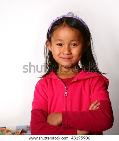 Portrait of young asian child on white background