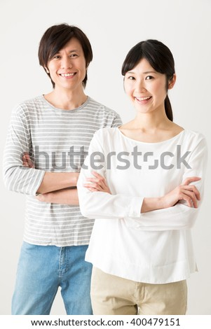portrait of young asian couple isolated on white background