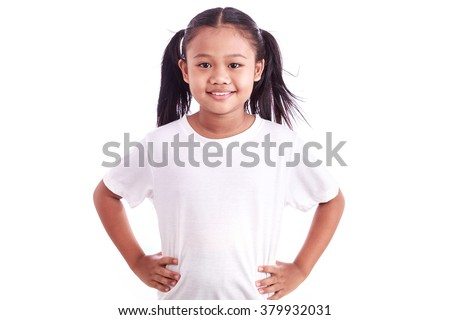 Portrait of young Asian girl isolated on white background - stock photo