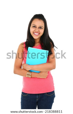 Portrait of young Asian/Indian student, isolated on white background. - stock photo