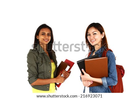 Portrait of young Asian students, isolated on white background - stock photo