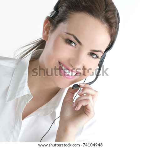portrait of young assistant - stock photo