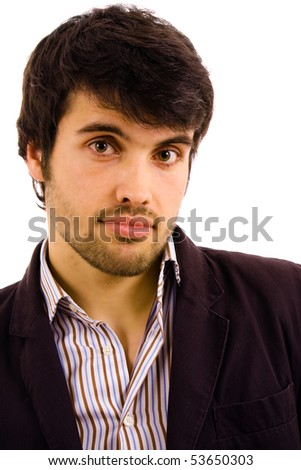 Portrait of young atractive man, isolated on white