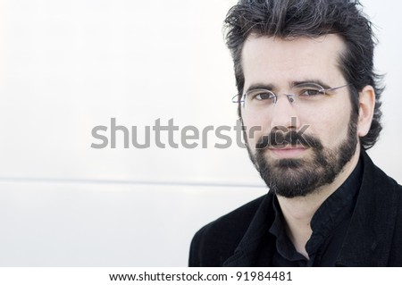 Portrait of young attractive adult against a white background - stock photo