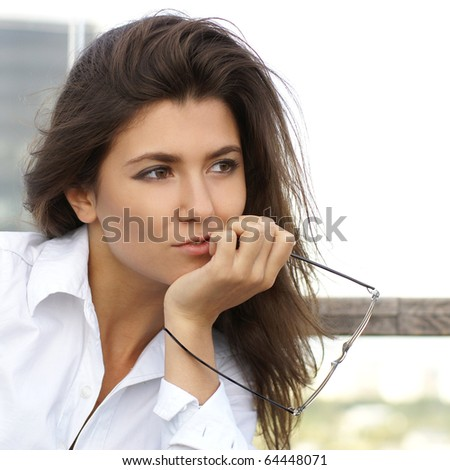 Portrait of young attractive business woman - stock photo