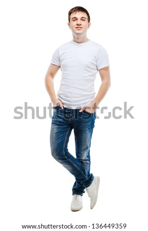portrait of young attractive casual man on white background - stock photo