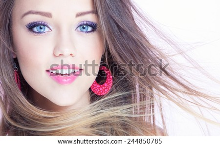 Portrait of young attractive cheerful woman, beauty style concept - stock photo