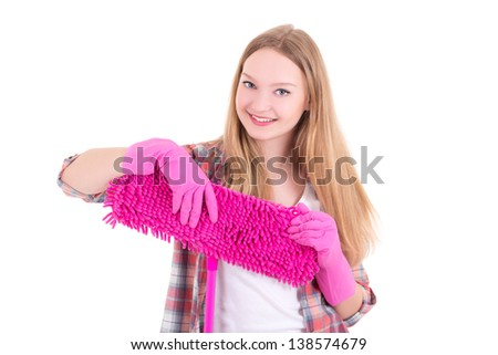 portrait of young attractive housewife with mop isolated on white background - stock photo