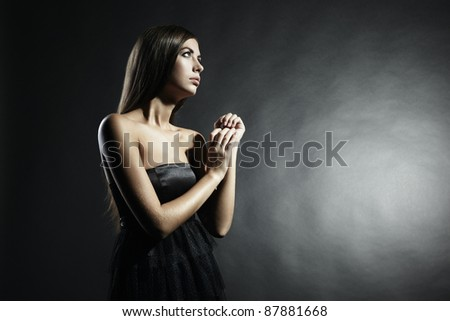 Portrait of young attractive woman. Fashion photo - stock photo