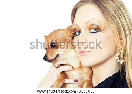 portrait of young attractive woman with her pet - stock photo