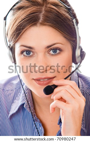 Portrait of young attractive woman working at office.  Isolated - stock photo