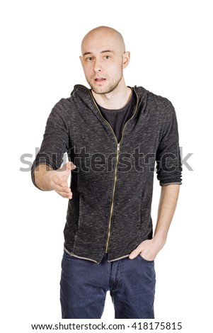 Portrait of young bald man, looking at camera and stretching hand for handshake. image isolated over white background. people, female, business and portrait concept - stock photo