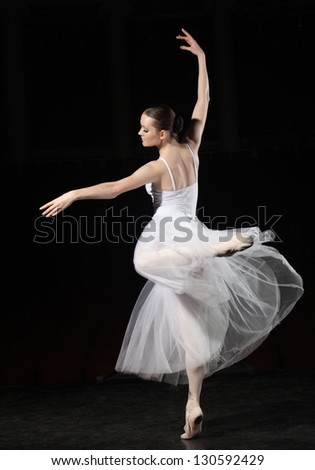 Portrait of young ballerina in rehearsal - stock photo